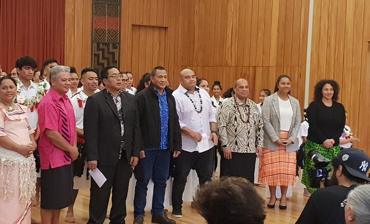 Guests from left, Agatha Ferei, her husband and Fiji Rotuman group chair Pasirio Fuirivai; Gagaj (chief) Tomanov; Pastor George Aptinko; NZ Rotuma group chair Gabe Penjueli; Minister Aupito William Sio; Youth MP for Mangere 'Alakihihifo Vailala; and TV producer Ngaire Fuata.