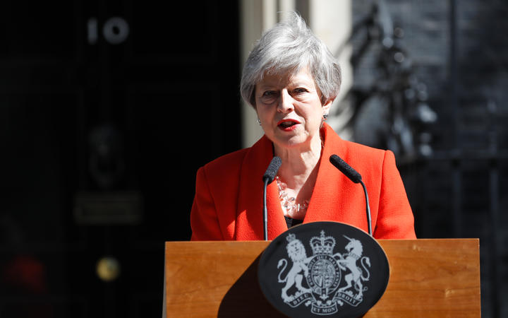 Britain's Prime Minister Theresa May announces her resignation outside 10 Downing street in central London on May 24, 2019.