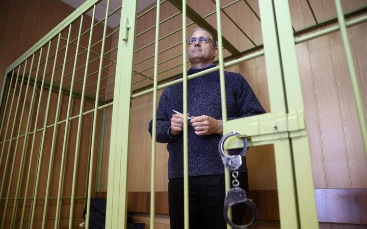 Paul Whelan waits in a courtroom as the court considers an appeal on extending his arrest at the Lefortovsky Court, in Moscow, Russia. Whelan was accused of espionage and detained by the Russian Federal Security Service.
