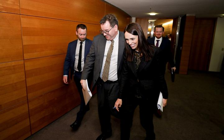 Finance Minister Grant Robertson, left, and Prime Minister Jacinda Ardern at Parliament 27 May 2019.