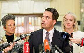 National leader Simon Bridges talks to media about the Treasury Budget information leak.