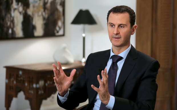 Syrian President Bashar al-Assad in an exclusive interview with AFP in the capital Damascus 11 February 2016.