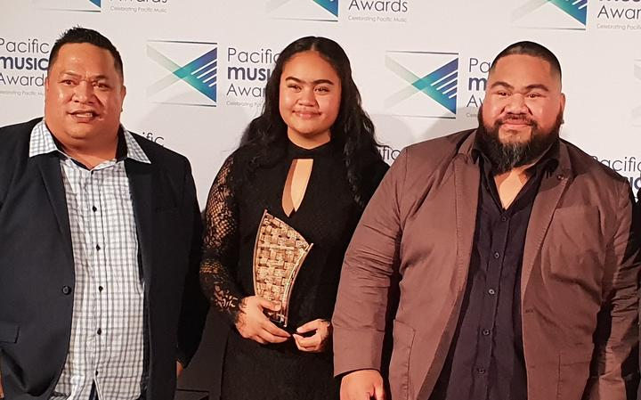 Punialava'a members from left, Nanai Viellani Lale Peteru, sister Miss Melody and brother Poni won the Language Award.
