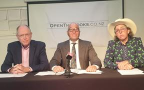 Don Brash, Clive Matthew-Wilson and Lisa Prager at the launch of anti-AT group OpenTheBooks.