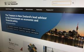 The homepage of NZ Treasury's website.