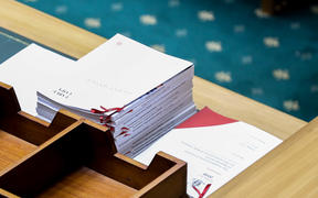Copies of the Budget 2019 documents on the table in the middle of the debating chamber.