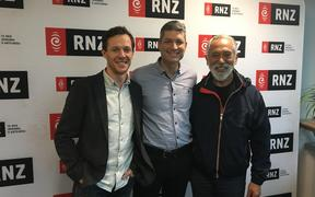 Gareth Reeves and George Henare with Jesse Mulligan