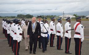 The Australian prime minister Scott Morrison inspecting a guard of honor by the Royal Solomon Islands Police Force upon his arrival in the capital Honiara. 2 June 2019