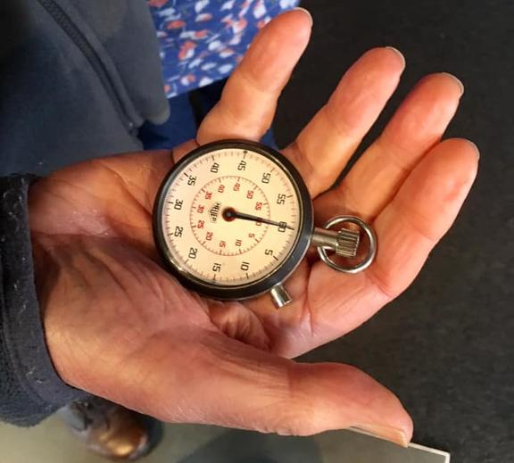 Composer Lyell Cresswell and his vintage stopwatch