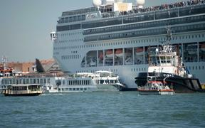 The MSC cruise ship Opera is seen after the collision with a tourist boat, in Venice, Italy, Sunday,  June 2, 2019.