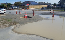 Liquefaction on Bower Avenue In North New Brighton/ Parklands.