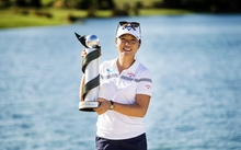 Lydia Ko of New Zealand with the trophy following the Final Day of the ISPS Handa NZ Women's Open.