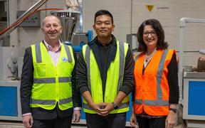 Left to right: Andrew Pooch, MD Tetra Pak Oceania, Gavin Heng, director NZ Plastic Products, and Julie Evans, key account director, Tetra Pak Oceania.
