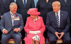 Britain's Prince Charles, Queen Elizabeth II and US President Donald Trump pose for the official family photograph during an event to commemorate the 75th anniversary of the D-Day landings, in Portsmouth.