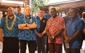 From left to right front row: Aupito William Sio, Winston Peters, Manasseh Sogavare, Jeremiah Manele.