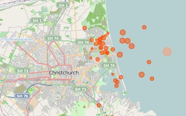 Dozens of aftershocks occurred in the hours following the 5.7 quake - seen in orange. Aftershocks in red.