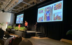 Mother, Tammy, address the Shift Aotearoa conference.