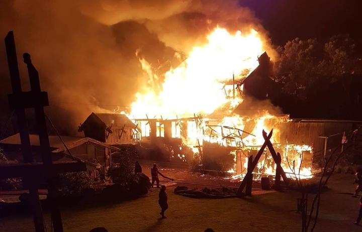 Tapu Te Ranga Marae in flames.