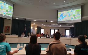 Climate Conscious Mana Rangatahi Summit address Auckland Council ahead of its vote to declare a climate emergency.