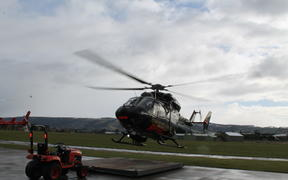 The Otago Rescue Helicopter departs from its Mosgiel base on a mission.
