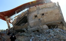 The collapsed MSF hospital in Idlib, Syria.