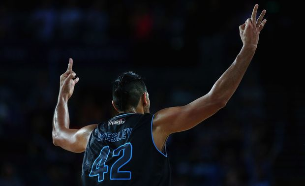 Tai Wesley celebrates a three pointer against the Sydney Kings, Vector Arena, Auckland, Friday 11 December 2015. Photo: Anthony Au-Yeung / www.photosport.nz