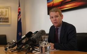 Education Minister Chris Hipkins speaking to media about the revised teacher pay offer.