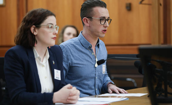 Max Tweedie and Teri O'Neill speak to the Justice Committee about the petition behalf of Young Labour and the Young Greens asking for a ban on gay conversion therapy.
