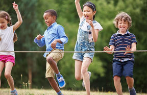 48658696 - A photo of children arriving to the finish line at race at a birthday party