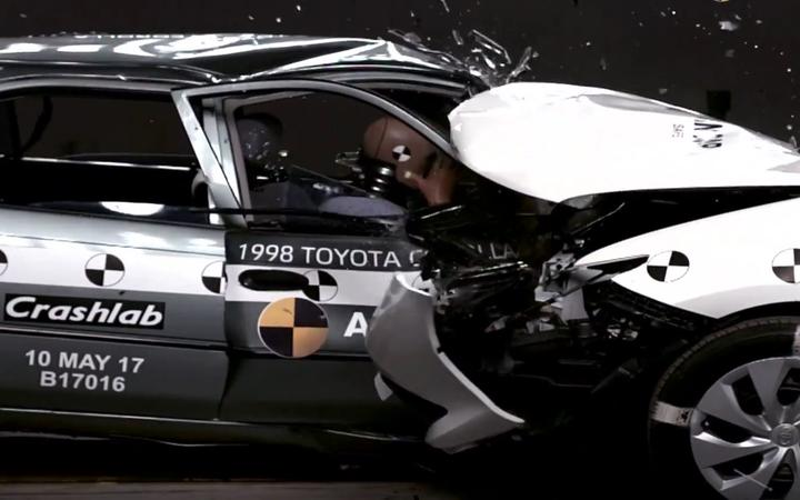 A 1998 Toyota Corolla came out much worse off than its 2015 counterpart in a crash test.