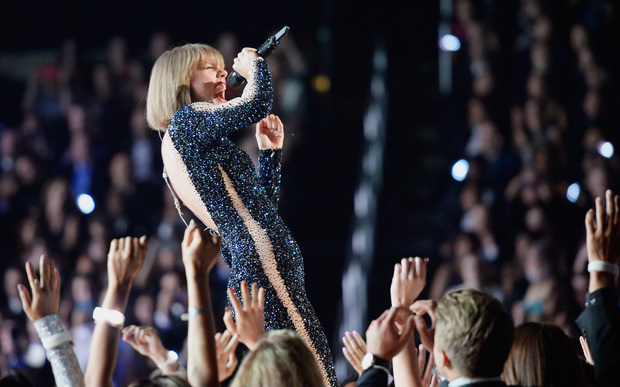 Taylor Swift performs onstage during the 58th GRAMMY Awards at Staples Center on 15 February 2016 in Los Angeles.