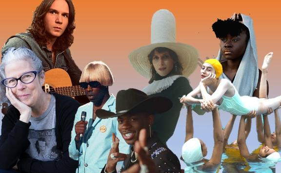L-R - Francisca Griffin, Ian Noe, Tyler The Creator, Lil Nas X, Aldous Harding, Faye Webster and Sampa The Great
