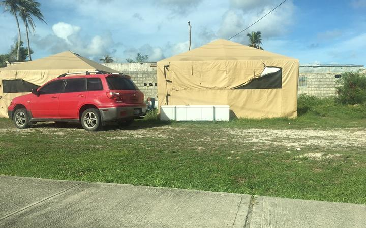 A FEMA tent on Saipan