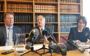 The lawyers for the Afghan villagers (from left) Richard McLeod, Rodney Harrison QC and Deborah Manning.