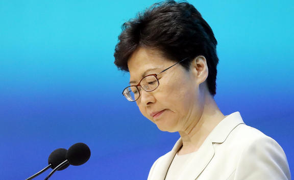 Carrie Lam speaks to press at the weekend to apologise to the people of Hong Kong over the Beijing-backed China extradition bill.