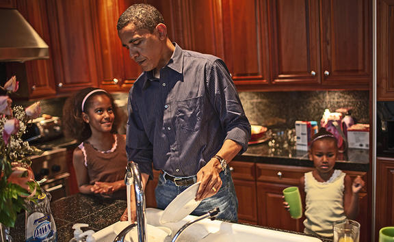 Barack Obama and his daughters