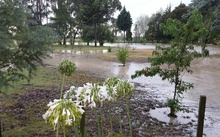 Flooding at a Brightwater property after the Wairoa River breached its banks.