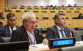 Ulu-O-Tokelau Faipule Kelihiano Kalolo and Tokelau Administrator briefing the United Nations Decolonization Committee on recent key developments and challenges in Tokelau.