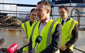 Sanford chief executive Volker Kuntzsch speaking at the announcement on cameras on fishing boats by PM Jacinda Ardern, left, and Fisheries Minister Stuart Nash, right.
