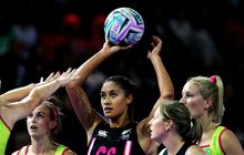 New Zealand's Maria Tutaia takes a shot in the Fast5 Netball World Series against Australia at Vector Arena, Auckland, Friday 8th November 2013. Photo: Anthony Au-Yeung / photosport.co.nz