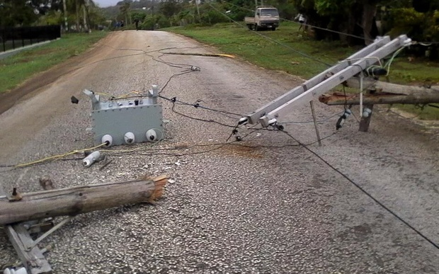 Power lines down in Vava'u following Cyclone Winston