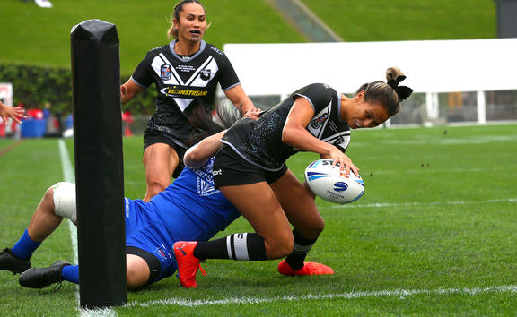 Kiana Takairangi. Rugby League International between the Kiwi Ferns and Fetu Samoa at Mt Smart Stadium, Saturday 22 June, 2019.