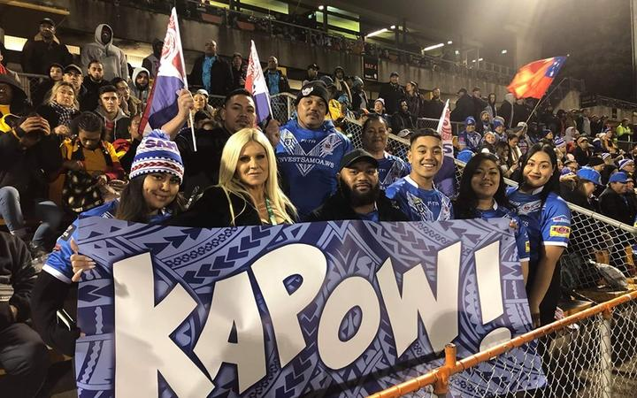 Samoan fans show support for Martin Taupau, who moved to the Toa from the Kiwis this week