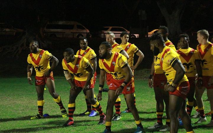 The PNG Kumuls warm up for their match at Leichhardt Oval in Sydney