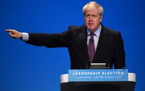 Conservative MP Boris Johnson speaks to the audience as he takes part in a Conservative Party leadership hustings event in Birmingham, central England on June 22, 2019.