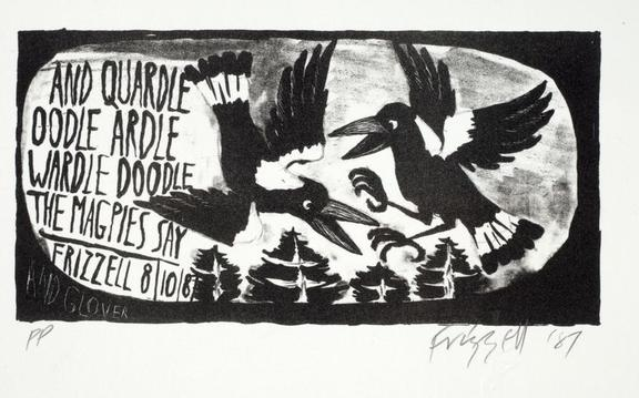 Work by Dick Frizzell based on Denis Glover poem The Magpies