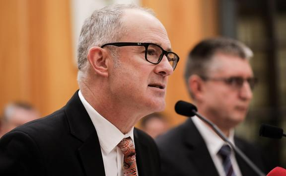 Phil Twyford answers questions at the Select Committee.