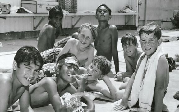 Māori and Pakeha boys at school swimming pool, Auckland, 1970.