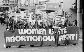 Pro-abortion demonstration moving down Manners Street, Wellington. Photographed by an Evening Post staff photographer on the 23rd of June 1976.