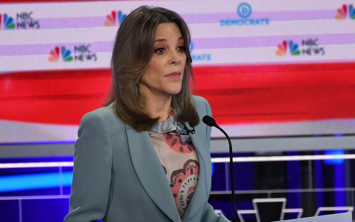 Democratic presidential hopeful US author Marianne Williamson speaks during the second Democratic primary debate of the 2020 presidential campaign.